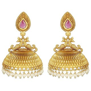 MUCH MORE Gorgoes Peecock Shape Gold Plated  Earring Jhumki With Ruby  & Pearl Stone