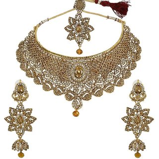 MUCH MORE Beautiful Combination Of Silver and Golden stone Trendy Necklace Jewellery for Women's