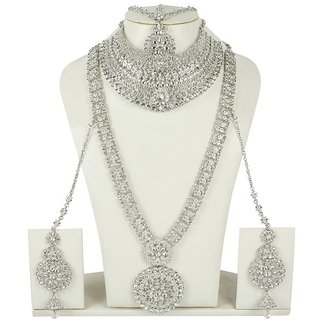 MUCH MORE Floral Shape Silver Tone Bridal Necklace Traditional  jewellery For Women's