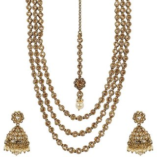 MUCH MORE 3 Layer Gold Plated  Polki Set Jhumki Earring With Pearl Drop & Manng Tikka Necklace Jewellery