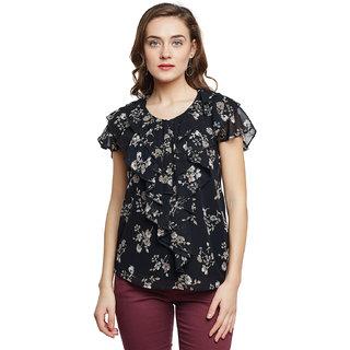 Ruhaan's Women's Black Color Floral Printed Top in Georgette