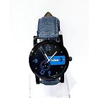 Fules Black Dial Blue Denim Strap Watch For Men