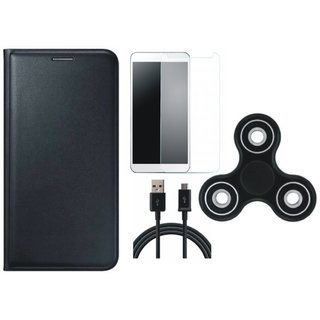 OnePlus 5 Leather Flip Cover with Spinner, Tempered Glass and USB Cable