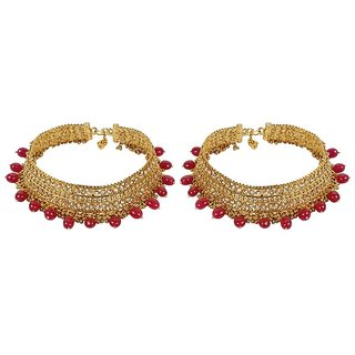 MUCH MORE Authentic Gold Plated Crystal Payal With Beautiful Ruby Dropping Indian Anklet Partywear Jewelry