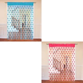 Angel homes Multicolour Heart Curtain set of 2