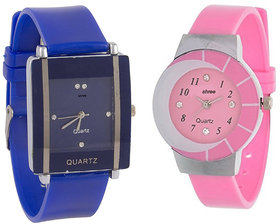 Simple Sober Pink And Blue Dial Analog Watch For Women