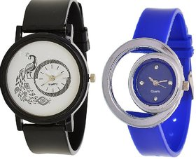 TRUE CHOICE NEW  Black And Blue Women Watch Pack Of 2