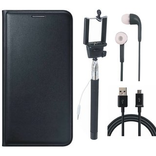 Moto C Plus Leather Flip Cover with Selfie Stick, Earphones and USB Cable