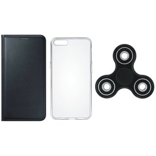 One Plus 5 Premium Leather Cover with Spinner, Silicon Back Cover, Free Silicon Back Cover