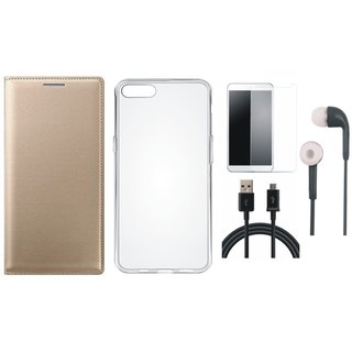 One Plus 5 Premium Leather Cover with Silicon Back Cover, Tempered Glass, Earphones and USB Cable