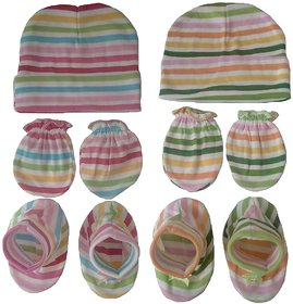 Prince & Princess Baby Cotton Combo Set (0-3 Month) (Caps Booties Mittens)