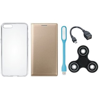 One Plus 5 Cover with Spinner, Silicon Back Cover, USB LED Light and OTG Cable