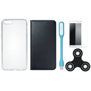1+5 Cover with Spinner, Silicon Back Cover, Tempered Glas and USB LED Light
