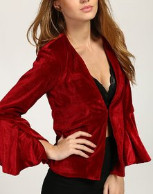 Women's Maroon Angeline Waterfall Bell Sleeves Blazer