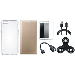 1+5 Cover with Spinner, Silicon Back Cover, Tempered Glass, OTG Cable and USB Cable
