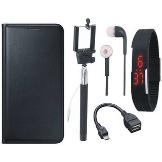 1+5 Stylish Cover with Selfie Stick, Digtal Watch, Earphones and OTG Cable