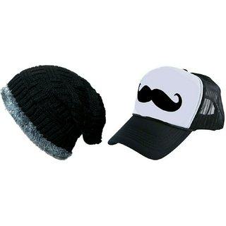 FRIENDSKART Printed White Mooch Half Net Cap,Black Woolen Colour Half Net Cap,Trucker Cap For Boys And Girls Cap Cap