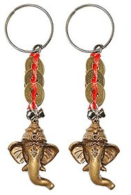 Set of 2 Ganeshji with 3 Lucky coin Key chain for wealth prosperity