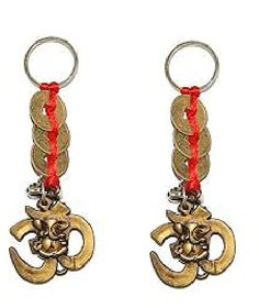 Set of 2 Om with 3 Lucky coin Key chain for wealth prosperity