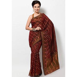 Banarasi Matka Silk Fancy Saree Golden And Mehroon