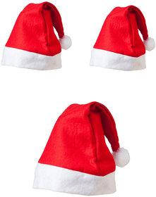 Christmas Pack of 3 Red Santa Cap