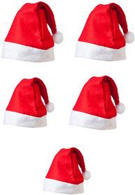 Christmas Pack of 5 Red Santa Cap