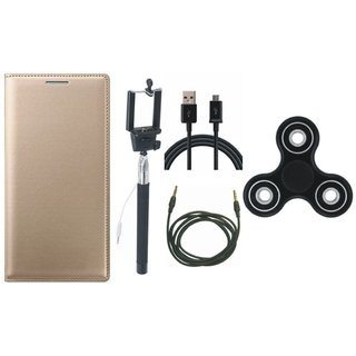 Moto G5 Leather Flip Cover with Spinner, Selfie Stick, USB Cable and AUX Cable