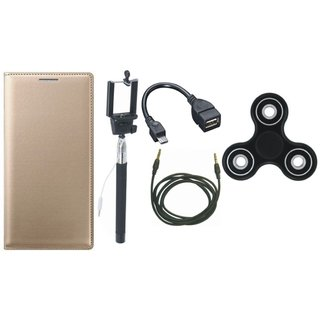 Moto G5 Leather Flip Cover with Spinner, Selfie Stick, OTG Cable and AUX Cable