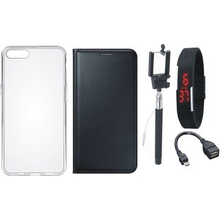 Moto G5 Premium Leather Cover with Silicon Back Cover, Selfie Stick, Digtal Watch and OTG Cable
