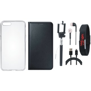 Moto G5 Premium Leather Cover with Silicon Back Cover, Selfie Stick, Digtal Watch, Earphones and USB Cable