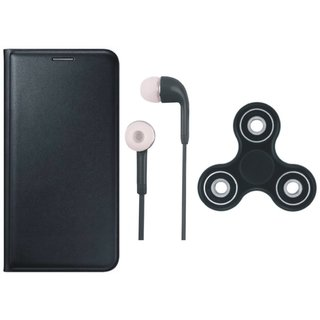 Moto G5 Premium Leather Cover with Earphones and Spinner