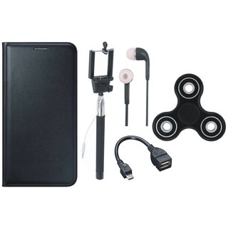 Moto G5 Premium Leather Cover with Spinner, Selfie Stick, Earphones and OTG Cable