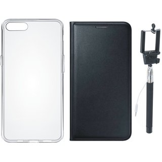 Moto G5 Premium Leather Cover with Silicon Back Cover, Free Silicon Back Cover and Selfie Stick