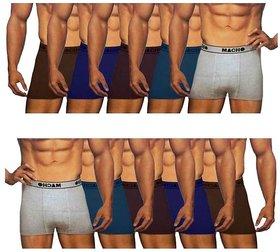 (PACK OF 10) MACHO Men's Semi-Long (Mini) Trunk/Underwear - Multi-Color