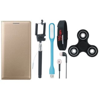 Moto G5 Stylish Cover with Spinner, Selfie Stick, Digtal Watch, Earphones and USB LED Light