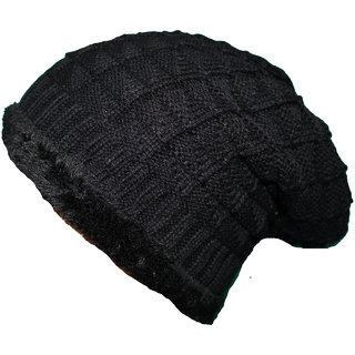 FRIENDSKART Solid Woolen Black Beanie Cap
