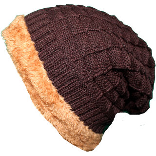 FRIENDSKART Solid Woolen Brown Beanie Cap
