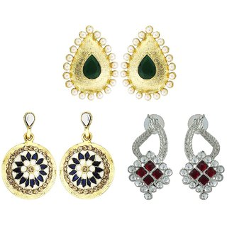 KSHITIJ JEWELS COMBO OF 3 Pairs of Earrings  and 1 Necklace setCN060