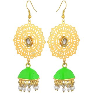 Kshitij Jewels Gold Plated Jhumki Earrings for Festive Use, With Ethnic Theme and Designer Collection KJS149
