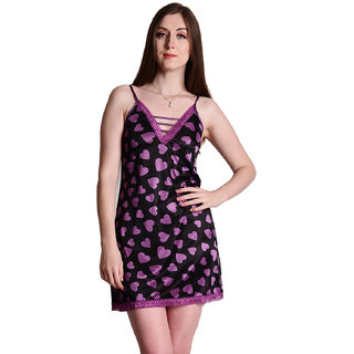 Senslife women satin nightwear sleepwear heart printed short nighty SL015
