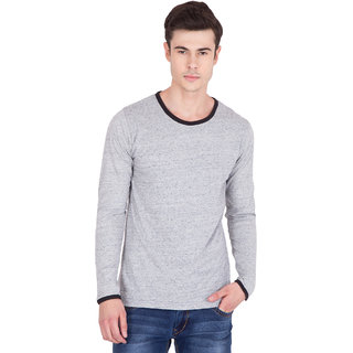 208b93956c912 Buy PAUSE Grey Slub Cotton Round Neck Slim Fit Full Sleeve Men s T-Shirt  Online - Get 64% Off