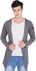 PAUSE Charcoal Solid Cotton Round Neck Slim Fit Full Sleeve Men's Shrug