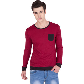 PAUSE Maroon Solid Cotton Round Neck Slim Fit Full Sleeve Men's T-Shirt
