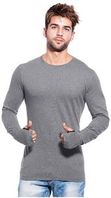 PAUSE Lt. Grey Solid Cotton Round Neck Slim Fit Long Sleeve Men's T-Shirt