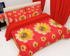 Aashish collection  Premium Quality 3D Double Bedsheet Set  Red Flower