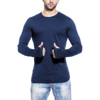 Buy PAUSE Blue Solid Cotton Round Neck Slim Fit Long Sleeve Men s T-Shirt  Online - Get 65% Off ea5112e856d