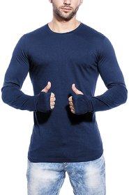 PAUSE Blue Solid Cotton Round Neck Slim Fit Long Sleeve Men's T-Shirt