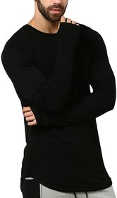 PAUSE Black Solid Cotton Round Neck Slim Fit Long Sleeve Men's T-Shirt