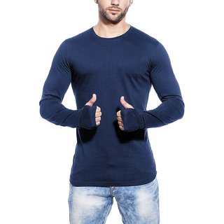 PAUSE Blue Solid Cotton Round Neck Slim Fit Long Sleeve Men's T-Shirt