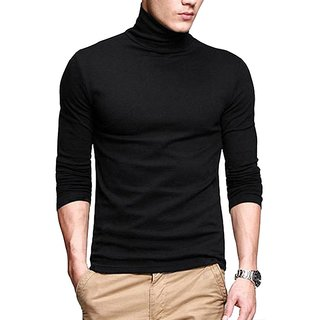 PAUSE Black Solid Cotton High Neck Slim Fit Long Sleeve Men's T-Shirt